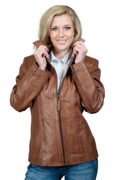 Super etwas längere Lederjacke von David Moore braun - antik superweich