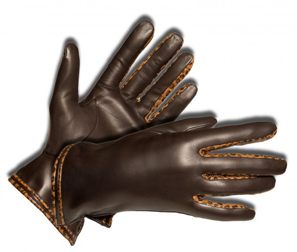 Toller warmer Leo-Handschuh für die modische Dame dunkelbraun