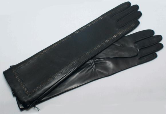 Perforierter langer Handschuh aus Haarschafleder