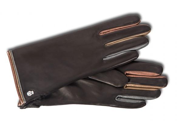 Trendiger Damenhandschuh von Roeckl im Colour-Mix schwarz metallic