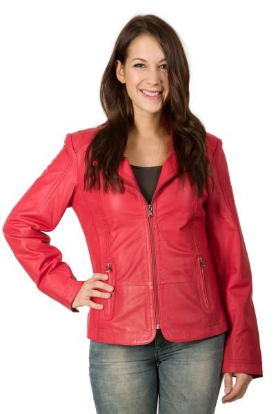 Hübsche Lederjacke in rot