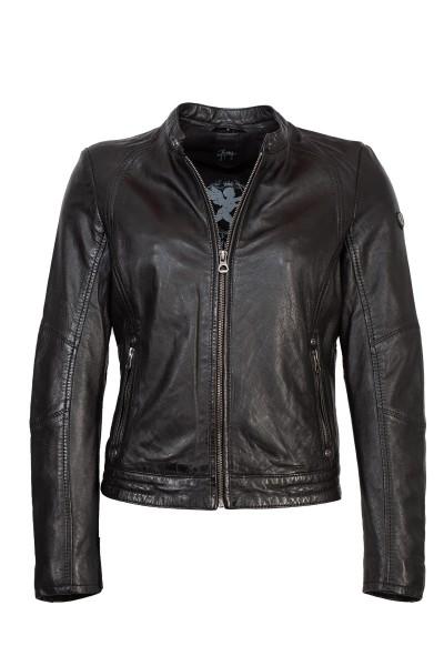 Gipsy Damen Lederjacke schwarz mit Stehkragen, Druckknopf und Riegel