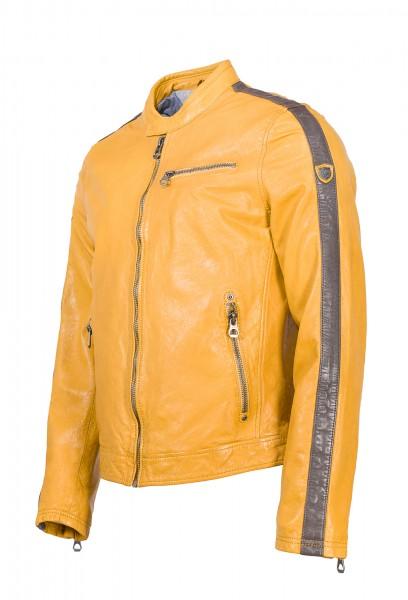 Gipsy Herren Lederjacke Streifen Seite gelb