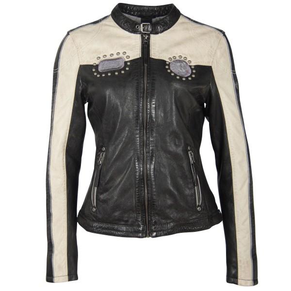 Gipsy Damen Lederjacke schwarz mit Streifen