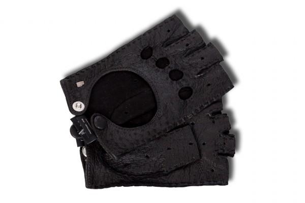 Sportive Halbfinger-Autohandschuhe Peccary für Damen schwarz