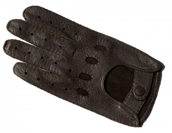 Peccary Autohandschuhe mit ganzen Fingern dunkelbraun (Damen)