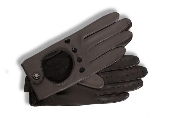 Sportive zweifarbige Autofahrer Handschuhe für Damen von Roeckl in anthrazit-schwarz