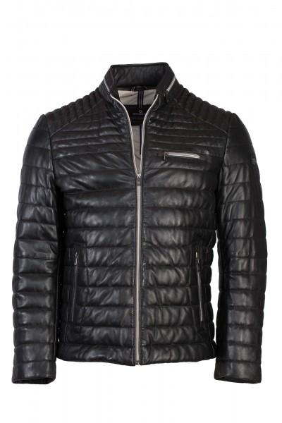 Stylische Lederjacke schwarz mit coolen Absteppungen federleicht von Milestone