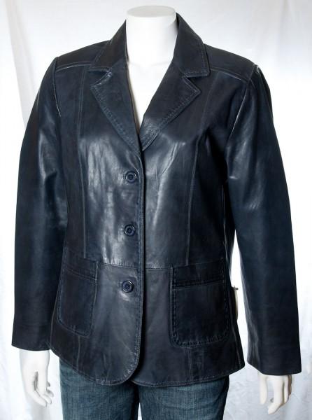 Blazer blaue Lederjacke aus feinem Lammnappa