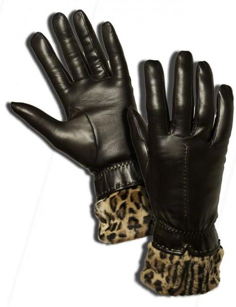 TOP-modischer Leo-Handschuh mit Echtfellbesatz Kaschmirfutter dunkelbraun Cosy Cat