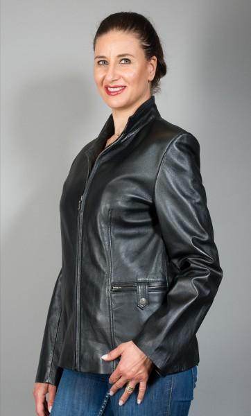 Klassische schwarze Lederjacke aus schwarzem Lammnappa