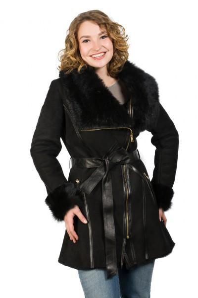 Bezaubernde TOP modische Lammfelljacke aus schwarzem Toscanalamm schwarz