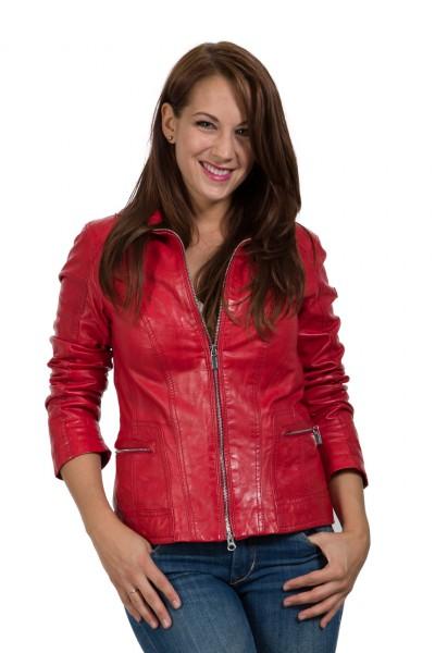 Superschöne leichte Damenlederjacke von Milestone aus weichem Lammnappa Frabe rot