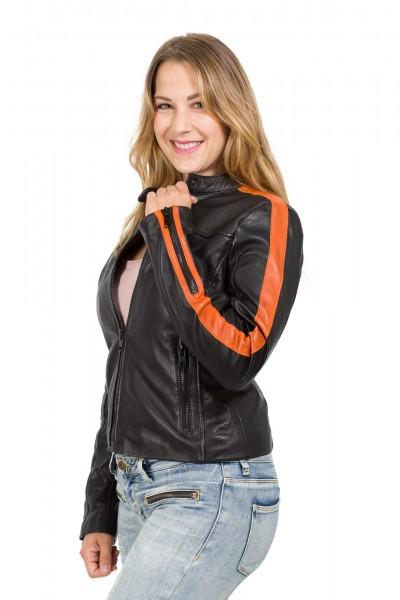 Gipsy Bikerjacke Streifen schwarz orange Veda