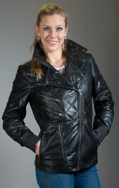 Hochwertige Lammnappa Jacke im Bikerstil mit trendiger Steppung
