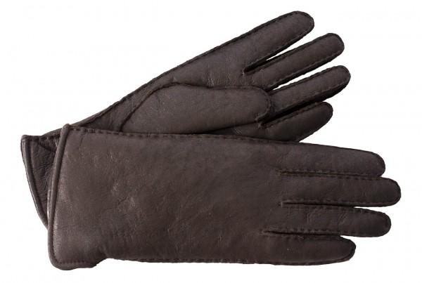 Feinste Lammfell Handschuhe dunkelbraun mollig warm