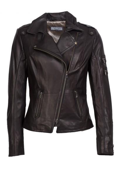 Top-modische Lederjacke von Schyia schwarz