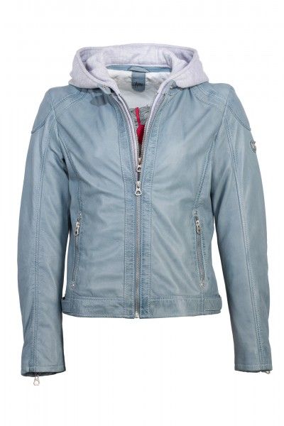 Gipsy Lederjacke Kapuze light blue Angy