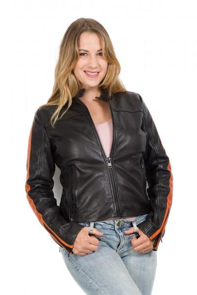 Gipsy Damen Lederjacke Streifen schwarz orange