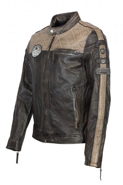 Gipsy Lederjacke mit Stickern schwarz