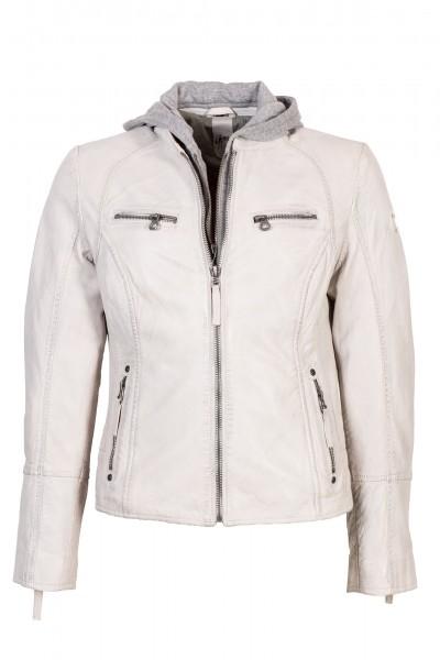 Gipsy Lederjacke mit Kapuze weiß