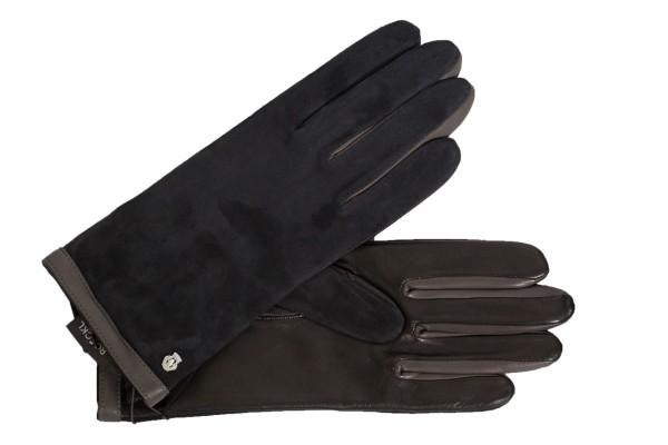 Klassischer Damenhandschuh von Roeckl im Material-Mix in schwarz