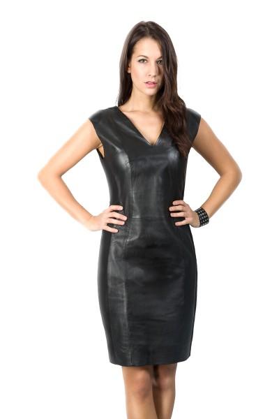 Sexy Lederkleid mit Stoffeinsätzen Stand schwarz Flow Dress