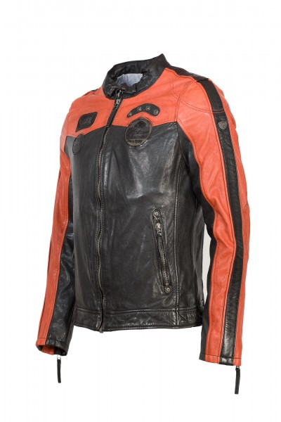 Gipsy Herren Bikerjacke schwarz orange