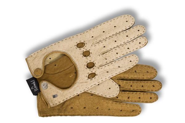 Zweifarbige Autofahrer Handschuhe von Roeckl Peccaryleder in creme