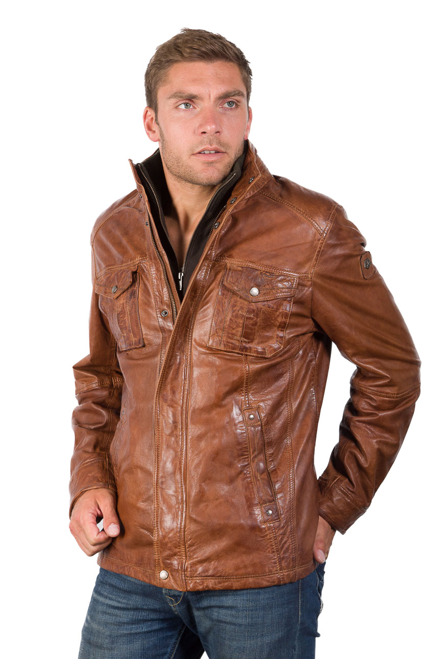 warme herren milestone lederjacke weiches lammnappa cognac. Black Bedroom Furniture Sets. Home Design Ideas