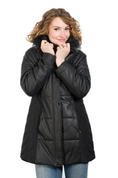 Warmer Mantel modischer Textil/Leder Mix schwarz