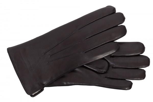Klassische Herren-Lederhandschuhe mit Lammfellfutter in schwarz