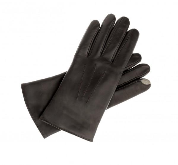 Touch taugliche Leder Handschuhe in dunkelbraun für Tablet und Smartphones