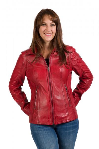 Gipsy Damen Lederjacke rot Front Charlize