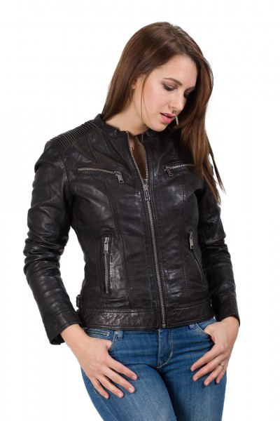Rockandblue Lederjacke schwarz mit Modell  Eona