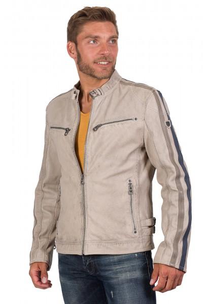 Gipsy Bikerjacke silber grau mit Modell vorne Hereos