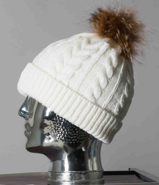 Modische Bommel Mütze von Gipsy mit Echtfellbommel
