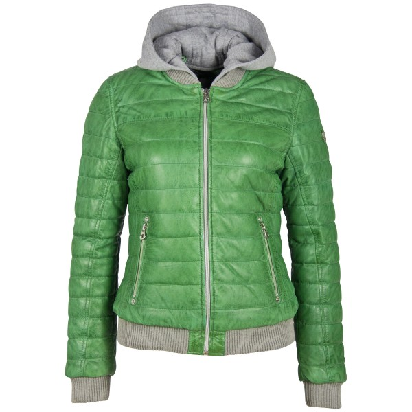 Gipsy Damen Lederjacke mit Kapuze grün