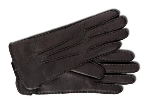 Klassischer Handschuh für Damen aus Hirschnappa in schwarz