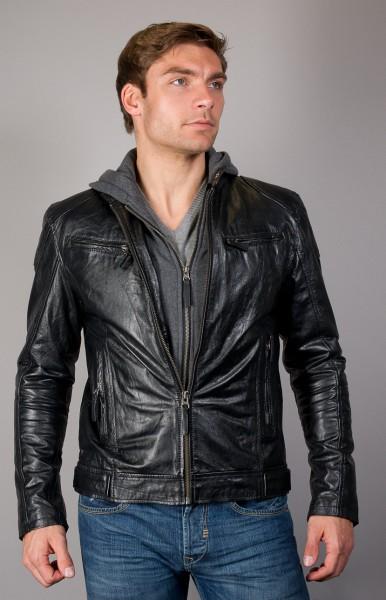 Lederjacke mit Kapuze schwarz
