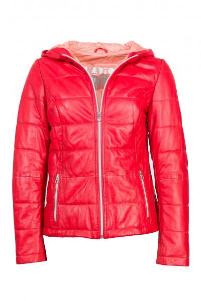 Milestone Damen Lederjacke mit trendiger Kapuze rot