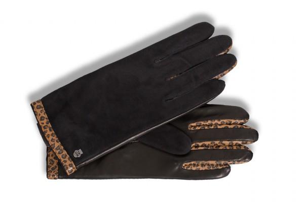 Wunderschöne Handschuhe für Damen von Roeckl im Leder-Mix in schwarz/leo