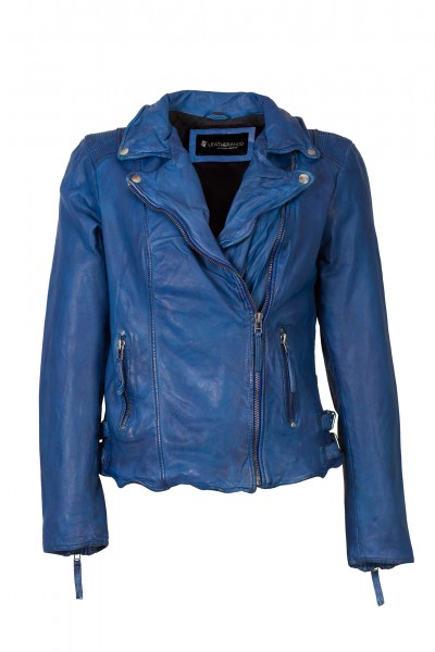 Leatherando modische Damen Lederjacke royalblau BM355