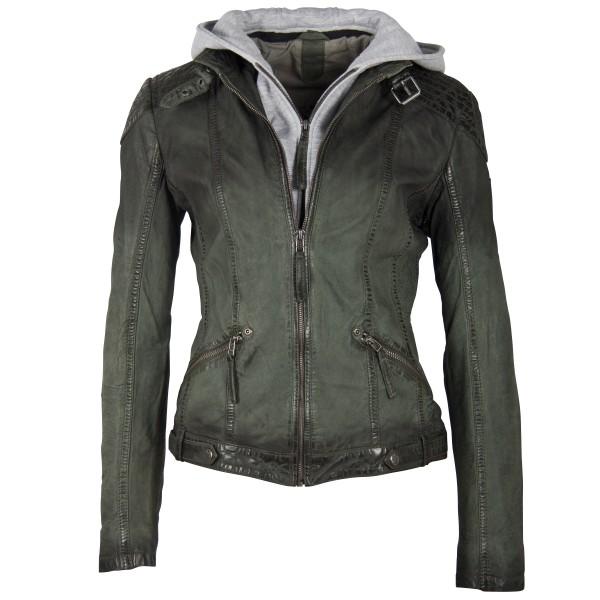 Gipsy Damen Lederjacke mit Farbverlauf grün