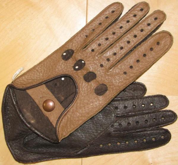 Zweifarbiger Handschuh aus feinstem Peccaryleder bicolor