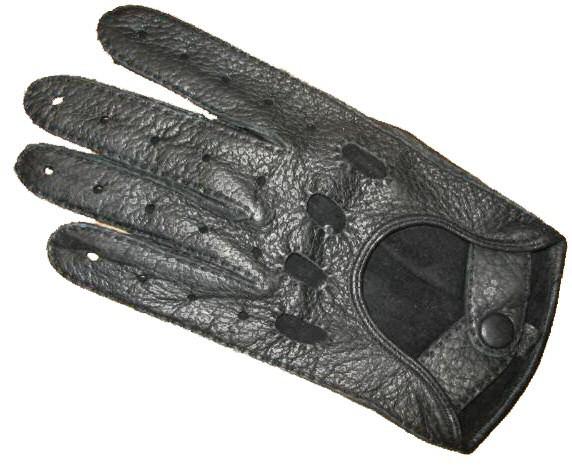 Peccary Autohandschuhe mit ganzen Fingern schwarz (Damen)