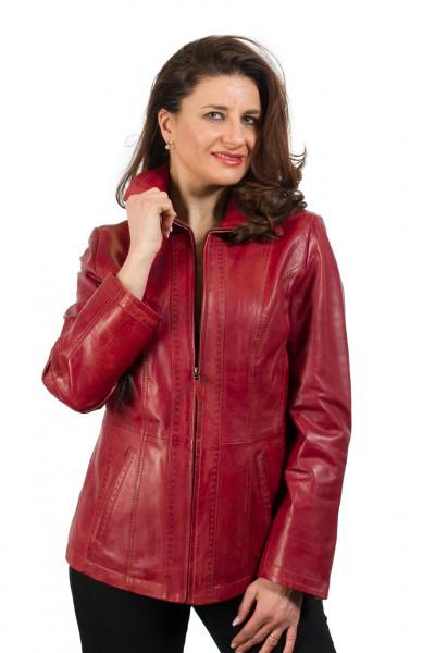Attraktive Damenlederjacke in rot