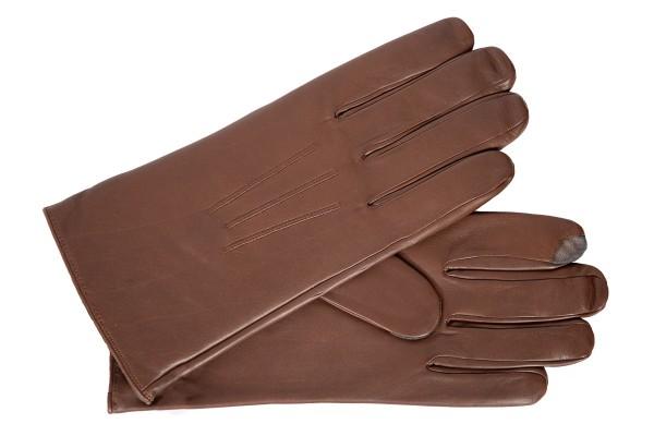 Klasse Touch Smartphone u. Tablet Handschuhe von Roeckl aus dunkel cognac Leder