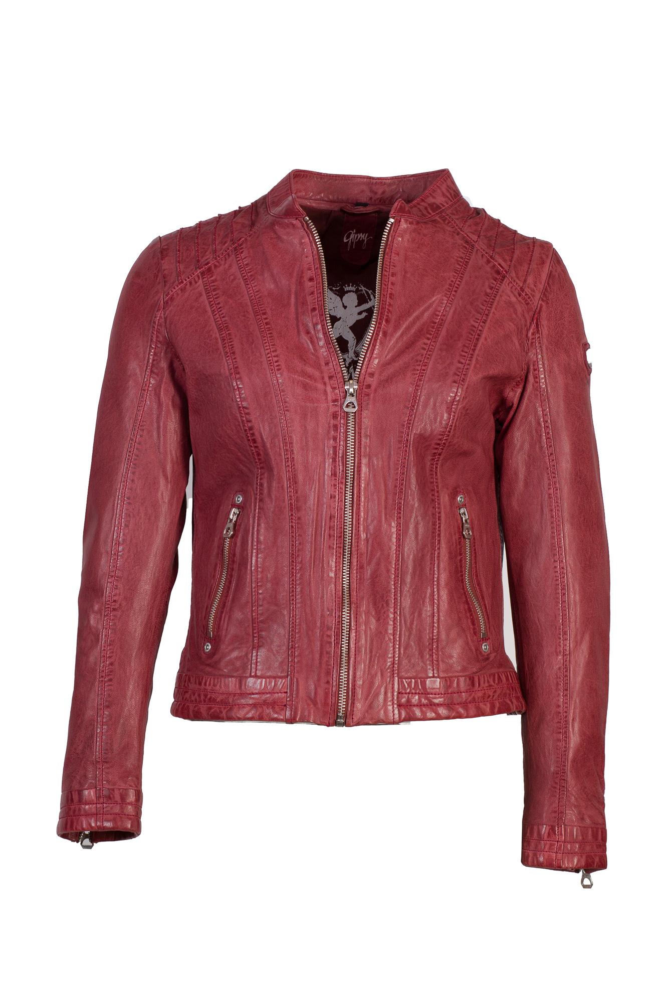 Sehr schöne Lederjacke rot mit Absteppungen von Gipsy