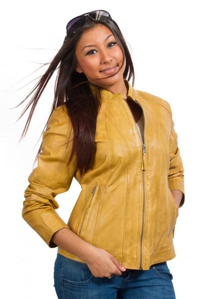 Klasse modische Lederjacke in gelb